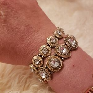 Gold and diamondesque bracelet